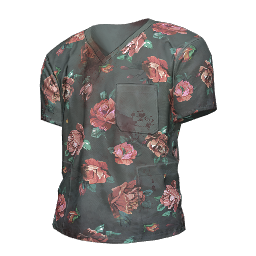 Flower Print Scrubs Shirt