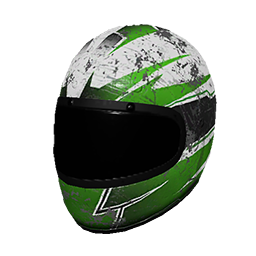 Green and White Racing Helmet