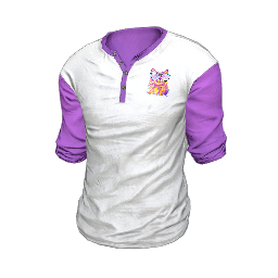 White and Purple Neko Henley