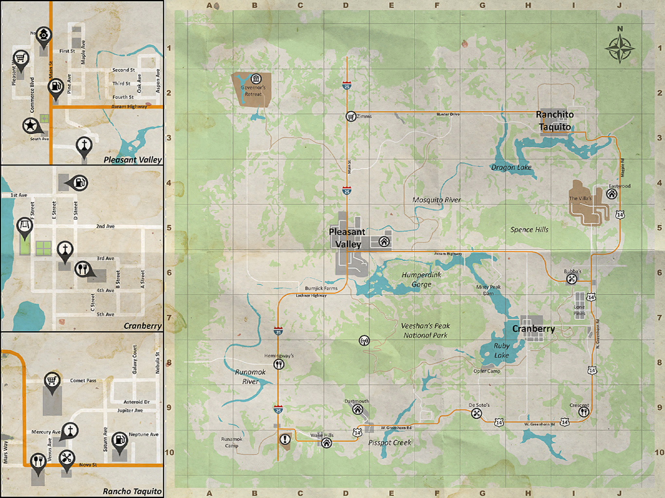 Pleasant Valley Area Map - Just Survive - Survivors Rest