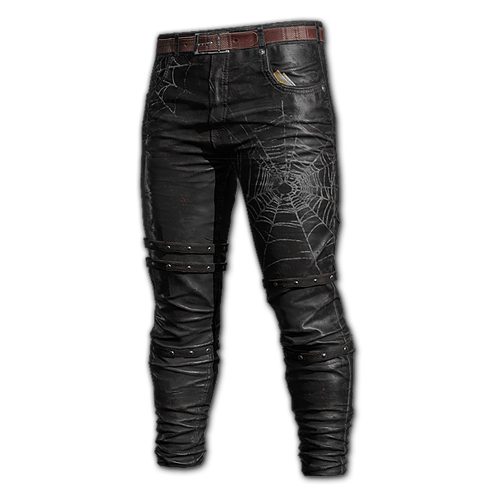 Black Spider Leather Pants
